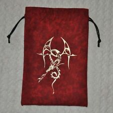 D&D Dungeons & Dragons Tribal gold dragon handmade game red dice bag