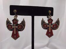 """CLIP ON-Brass & red stone dangling cross earrings w/ wings.  Approx 1 3/4"""""""