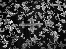 "BLACK/SILVER METALLIC  CHURCH BROCADE FABRIC 45"" WIDE 1 YARD"