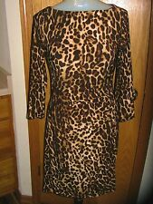 LAUREN RL DRESS-L/S-BRWNS/BLK-LEOPARD PRINT DRESS-KNEE LENGTH(APPROX)-GATHERED-2