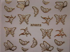 FARFALLE ORO adesivi per unghie nail art 3D BUTTERFLIES ADHESIVE stickers XF6072