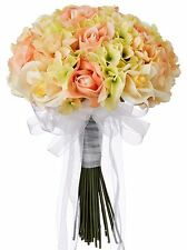Hydrangea Rose Yellow and Peach Hand Tie Medium - Silk Bridal Wedding Bouquet …