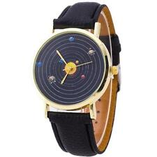 Very Unusual Solar System // Planet  Gold Faced Quartz Watch Black  Strap