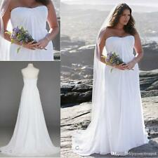 Plus Size White Ivory Beach Chiffon Bridal Gown Wedding Dress Custom Size 18 20+