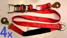 4pcs Axle Straps Car Hauler Trailer Auto Tie Down Ratchet Flatbed Towing RED