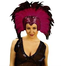 Pink Moulin Rouge Cabaret Mardi Gras Showgirl Burlesque Headdress Fancy Dress