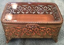 Vintage Jewelry Box Gold Ormolu Filigree Trinket Style built Manson Scroll