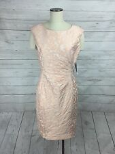 Lauren Ralph Lauren Size 12 Jacquard Pleated Cocktail Dress Pink Formal