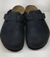 Birkenstock Boston 1002586 Size 37 L6M4 R Black Nubuck Soft Footbed Clogs