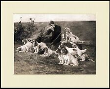 PETIT BASSET GRIFFON VENDEEN HUNTSMAN AND DOGS  DOG PRINT MOUNTED READY TO FRAME