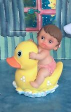 BABY GIRL SHOWER CAKE TOPPER FAVOR CENTERPIECE  BABY GIRL SITTING ON RUBBER DUCK