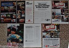 1970-77 Northwest Orient Airlines advertisements x 4, mini-skirt stewardess, 747