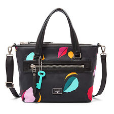 New Fossil Dawson Satchel Cotton Black Multi Bag ZB6593016
