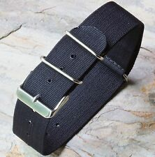 Black 24mm nylon vintage watch band NATO strap for fixed lugs or spring bars