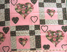 7/8 yd Cotton Fabric Faux Patchwork w/Hearts, Greens/Pinks/White
