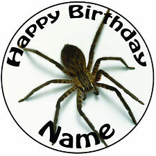 "Personalised Spider Icing Birthday Cake Topper Round Easy Peel Pre-cut 8"" (20cm)"