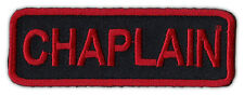 Motorcycle Jacket Embroidered Patch - Chaplain - Rank, Position - Red/Black