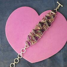 "Beautiful Silver Bracelet with 18 Amethyst Gemstones 31.9 Gr. 8"" Inc.Long In Box"