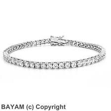 Diamonique CZ Round Cut Prong Set Tennis Bracelet Sterling Silver 5.6TCW 925