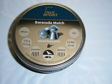 H&N BARACUDA MATCH .22 CAL LEAD PELLETS 200 count 21.14 grains DOMED SIZE 5.51