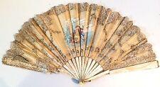 Ancien éventail XVIIIè? penture sur soie, dentelle, nacre, antique fan ventaglio