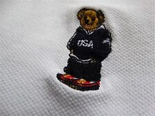 "VINTAGE RALPH LAUREN POLO ""USA TEDDY BEAR"" SOLID WHITE SS CLASSIC SHIRT SIZE: L"