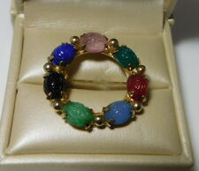 Cute Vintage Dainty Red Green Molded Glass Scarab Gold tone Wreath Brooch.