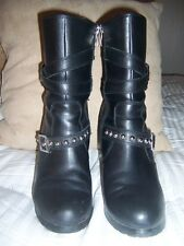 Women's  Embellished Black Leather Riding Boots Sz 10 Clearance Priced