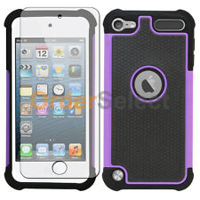 Hybrid Rugged Rubber Matte Case+Screen Guard for Apple iPod Touch 5 5th Purple