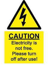 A5 Comedy Workplace Electricity Sticker - Spillage Hazard Accident Sign Shock