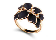 Elegant Gold & Black Flower Large Size Q Engagement Ring Diameter 18 mm FR140-8