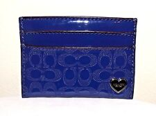 Cute Purple Shiny Patent Leather Heart Slim Wallet or Card Holder