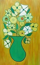 Large Old Picasso era Retro Abstract Vase Flowers Oil Painting signed Teplansky