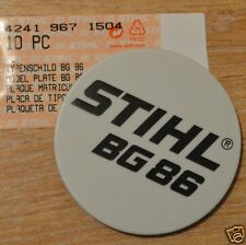 Genuine Stihl BG86 Model Plate Name Plate 4241 967 1504 Incl Tracked Post