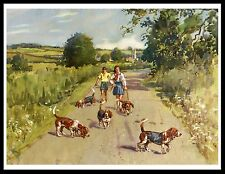 Basset Hound Lovely Vintage Style Image Children Walking Dogs Dog Print Poster