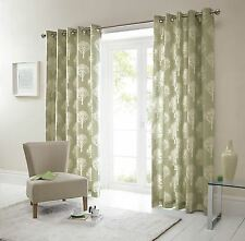 FOREST TREES GREEN CREAM 90X90 RING TOP LINED CURTAINS #SEERTDNALDOOW *CUR*