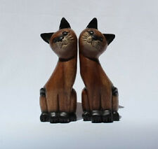 Handcarved Wooden Pair Cats with Painted Faces 21cm size from Thailand New!