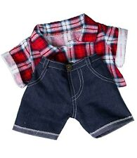 """Red Check Shirt And Jeans Outfit / Teddy Clothes To Fit 15"""" build a bear plush"""