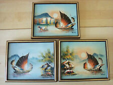 Set Of 3 Signed Original Hong Kong Framed Oil Paintings Chinese Junks - FREE P&P