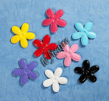 "1-3/8"" PVC Leather Long Petal Flower Appliques Costume Headband Clippies x80 Mix"