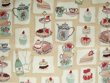 "Afternoon Tea - Cake Stands 100% Cotton fabric Size 22 ""x 18"" larger available"