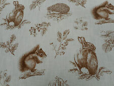 Sanderson Curtain Fabric 'Squirrel & Hedgehog' 1 METRE Henna/Wheat Linen Mix