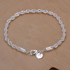wholesale 925sterling silver bracelet 3mm Rope chain women jewelry xmas gift