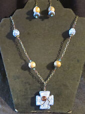 Unique Unakite? Hand Made Ceramic? Cross/Beads Chain Necklace Earrings Crystals