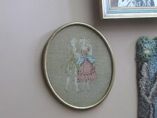 """Antique Berlin Wool Work Woolwork Framed Embroidery 10-1/2"""" x 12-1/2"""" Oval"""