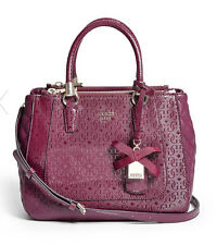 GUESS Marian G Logo Embossed Satchel Handbag Purse Quiletd Burgundy Bordeaux red