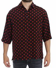 NWT $680 DOLCE & GABBANA Black Red Polka Silk Polo T-shirt Top EU52/US42 /XL-XXL