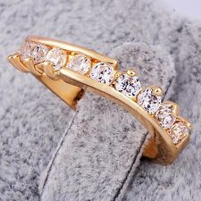 Korean jewelry Womens eternity Ring Clear CZ 9K Yellow Gold Plated Size 6.25