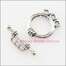 6Sets Tibetan Silver Smooth Round Circle Bracelet Toggle Clasps Connectors