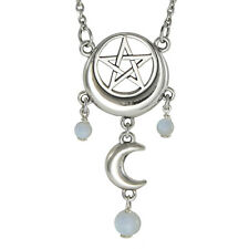 Sterling Silver Crescent Moon Pentacle Pentagram Necklace Moonstone Jewelry